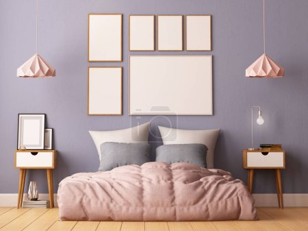 Photo for Mock up posters in bedroom interior. Interior hipster style. 3d rendering, 3d illustration. - Royalty Free Image