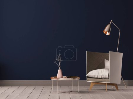 Photo for Mockup interior with armchair in loft style. - Royalty Free Image