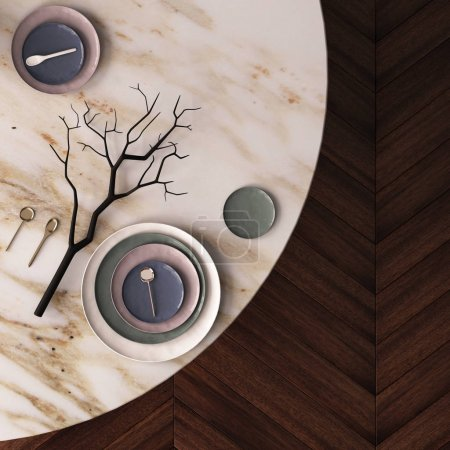 Dining table made of marble