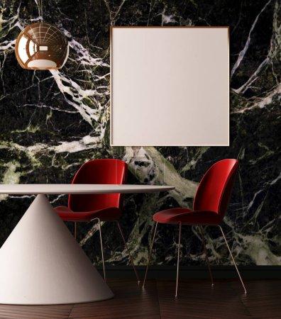 Poster in art deco style interior
