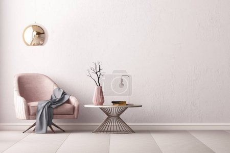 Photo for Modern room interior with armchair and lamp in minimalistic style, 3D render - Royalty Free Image