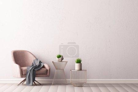 Photo pour Intérieur de la chambre moderne avec fauteuil et tables dans un style minimaliste, rendu 3D - image libre de droit