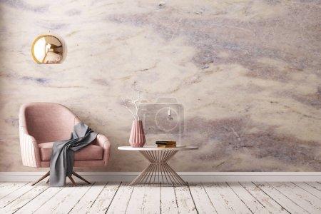Photo pour Intérieur de la chambre moderne avec fauteuil et table dans un style minimaliste, rendu 3D - image libre de droit
