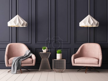Photo for Modern room interior with armchairs and lamps, 3D render - Royalty Free Image