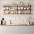 Mockup interior kitchen in pastel colors with ligh...