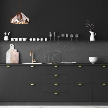 interior kitchen in dark colors