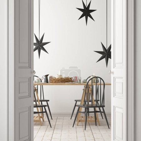 Photo for Indoors view of modern dining room interior with decorations - Royalty Free Image