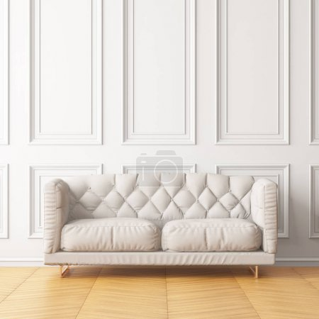 modern interior of living room with white sofa. 3d rendering