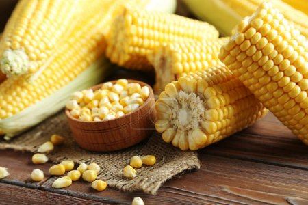 Sweet corns on table