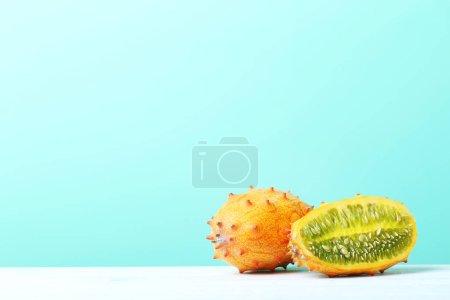 Kiwano fruits on table