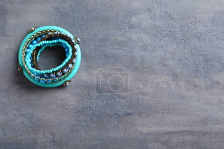 Beautiful bracelets on table