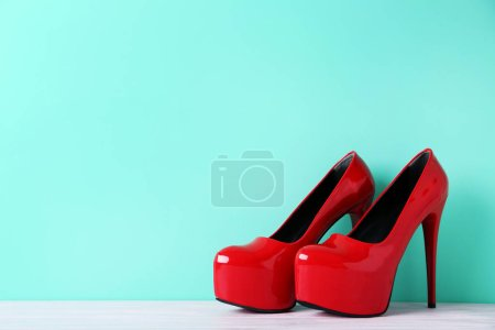 Red high heeled shoes