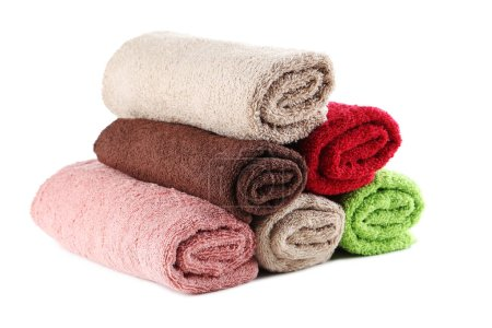 Rolled up towels on white