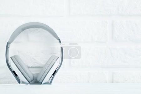 White headphones on wall