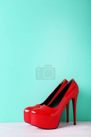 Red female high-heeled shoes