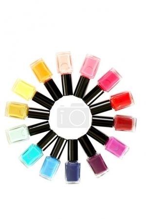 Bottles of nail polishes in shape of round