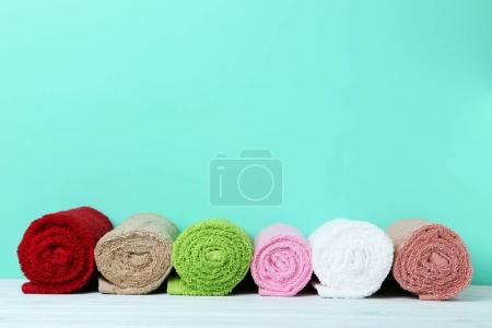 Colorful rolled up towels