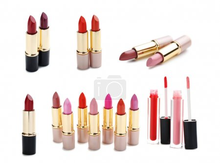 Collage of lipsticks on a white