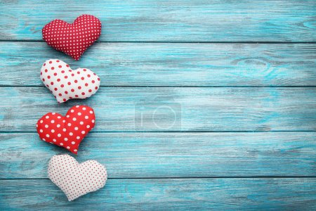 Love hearts on  table