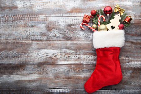 Red stocking and christmas decorations