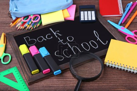 Inscription Back To School with stationery