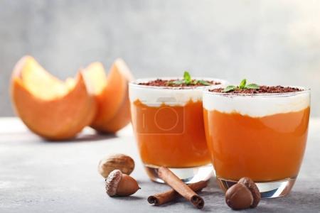 Pumpkin smoothie in glasses