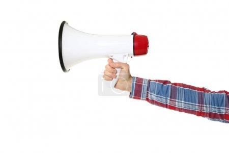 Male hand holding megaphone