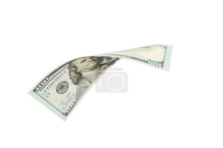 Photo pour Billet de cent dollars tombant sur fond blanc - image libre de droit