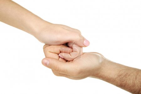Photo for Female and male hand holding each other on white background - Royalty Free Image