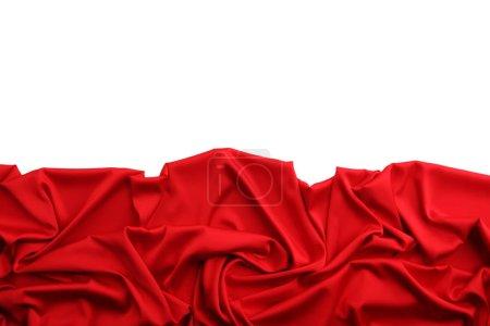 Photo pour Tissu satiné rouge sur fond blanc - image libre de droit