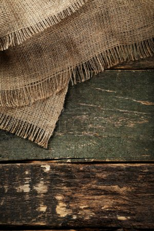 Sackcloth texture on grey wooden table