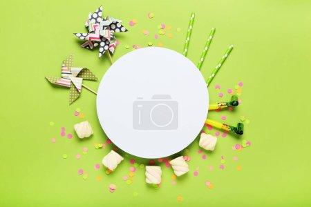 Photo for Colorful flat lay composition with various party items on green background - Royalty Free Image