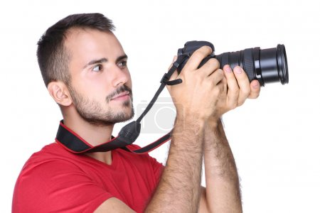 Photo for Young photographer with camera on white background - Royalty Free Image