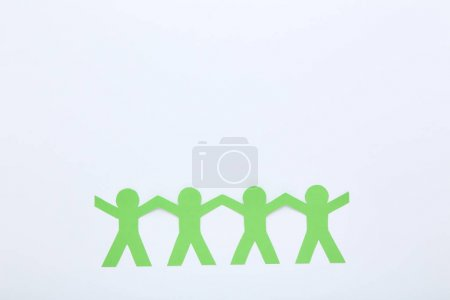 Paper chain people on white background
