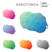 Set of vector polygonal Rarotonga maps filled with bright gradient of low poly art Multicolored island outline in geometric style for your infographics