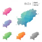 Set of vector polygonal Ibiza maps filled with bright gradient of low poly art