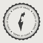 Israel hipster round rubber stamp with country map