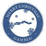 Постер, плакат: Gambia map Vintage Merry Christmas Gambia Stamp