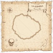 La Gomera old pirate map Sepia engraved parchment template of treasure island Stylized manuscript on vintage paper