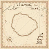 La Gomera old treasure map Sepia engraved template of pirate island parchment Stylized manuscript on vintage paper
