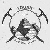 Logan in Saint Elias Canada outdoor adventure logo Climbing mountain vector insignia Climbing trekking hiking mountaineering and other extreme activities logo template