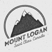 Logan in Saint Elias Canada outdoor adventure logo Round mountain vector insignia Climbing trekking hiking mountaineering and other extreme activities logo template