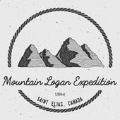 Logan in Saint Elias Canada outdoor adventure logo Round trekking vector insignia Climbing trekking hiking mountaineering and other extreme activities logo template