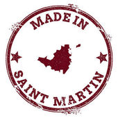 Saint Martin seal Vintage island map sticker Grunge rubber stamp with Made in text and map