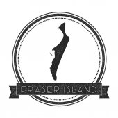 Fraser Island map stamp Retro distressed insignia Hipster round badge with text banner Island vector illustration