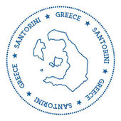 Santorini map sticker Hipster and retro style badge Minimalistic insignia with round dots border