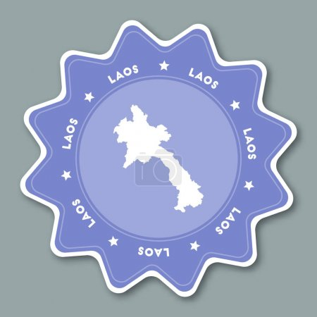 Lao Peoples Democratic Republic map sticker in trendy colors Star shaped travel sticker with