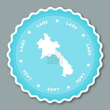 Lao Peoples Democratic Republic sticker flat design Round flat style badges of trendy colors with