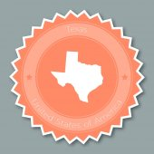 Texas badge flat design Round flat style sticker of trendy colors with the state map and name US