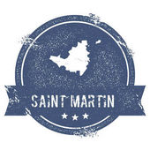 Saint Martin logo sign Travel rubber stamp with the name and map of island vector illustration